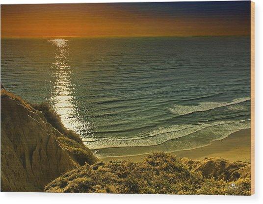 La Jolla Blacks Beach Sunset Wood Print