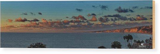 La Jolla Cliffs - Panorama Sunset Wood Print