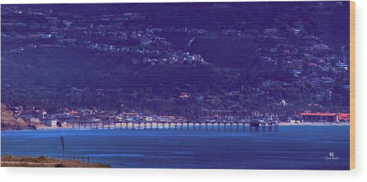 La Jolla Shores Pier From Torrey Pines Reserve Wood Print