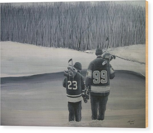 La Kings In Black And White Wood Print by Ron  Genest