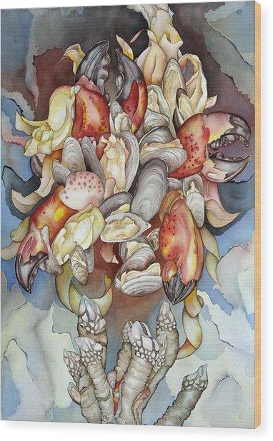 La Mer En Rouge Wood Print by Liduine Bekman