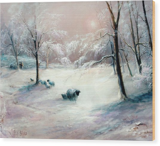 La Neige Wood Print by Sally Seago