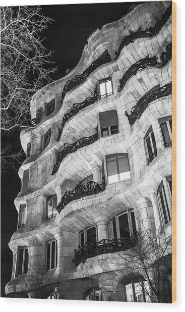 La Pedrera Night Wood Print
