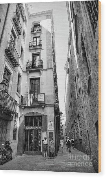 La Rambia Barcelona Restaurant Street Wood Print
