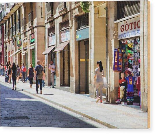 La Rambia Gothic Quarter People Streets  Barcelona Spain Life  Wood Print