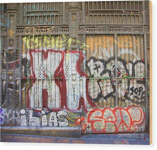 La Rambia Graffiti II Wood Print