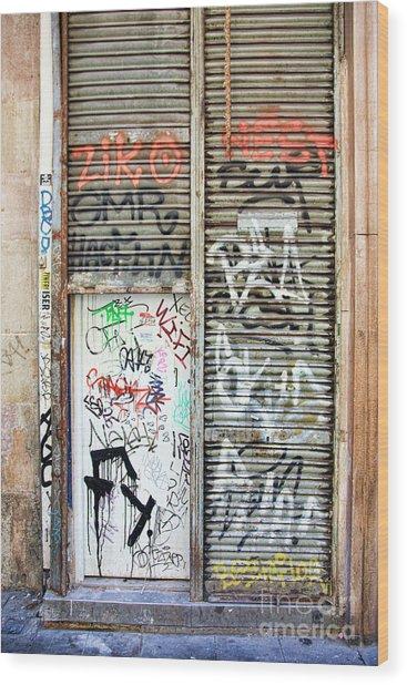 La Rambia Spain Graffiti I Wood Print