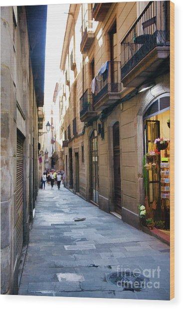 La Rambia Streets Color Wood Print