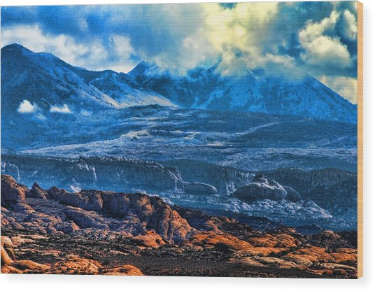 La Sal Mountains Arches National Park Wood Print