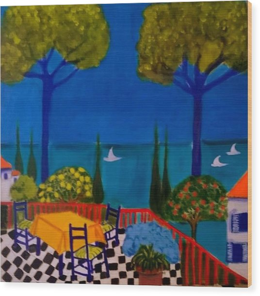 La Terasse En St Tropez Wood Print