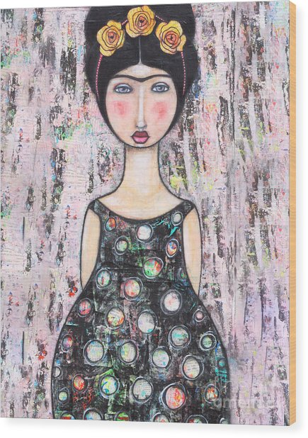 Wood Print featuring the mixed media La-tina by Natalie Briney
