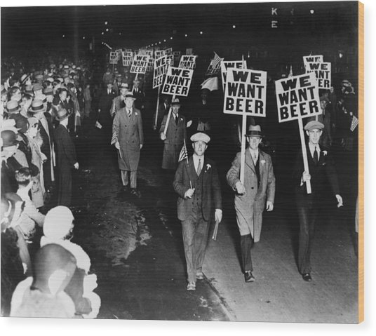 Labor Union Members Protesting Wood Print