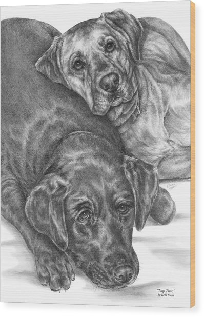 Labrador Dogs Nap Time Wood Print