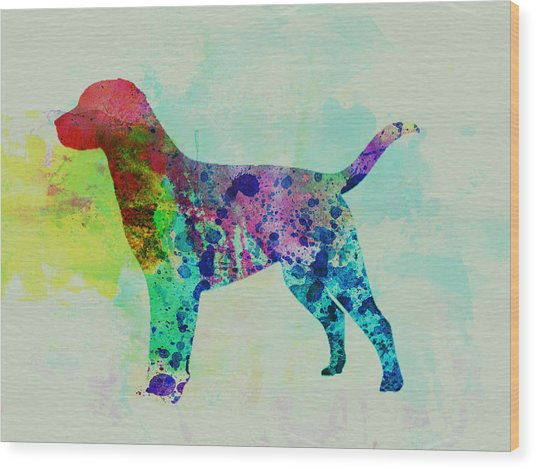 Labrador Retriever Watercolor Wood Print by Naxart Studio