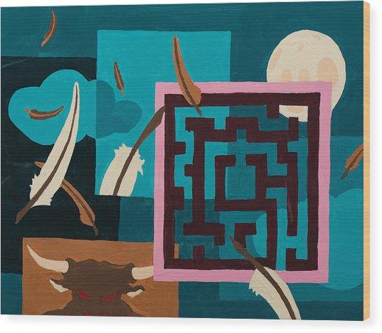 Labyrinth Night Wood Print