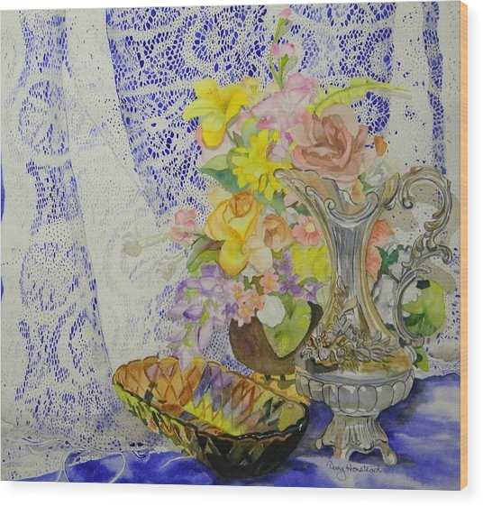 Lace And Flowers Wood Print by Terry Honstead