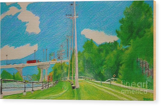 Lachine Canal Pencil Crayon Wood Print