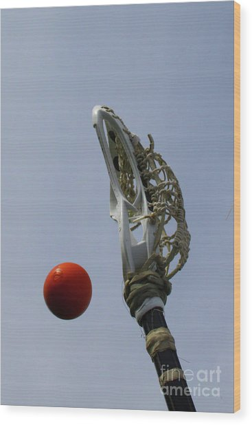 Lacrosse Stick And Ball Wood Print