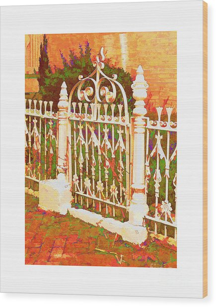 Lacy Garden Gate Wood Print