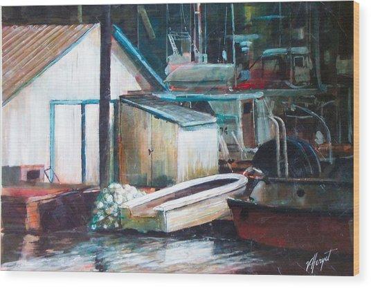 Ladner Harbour Wood Print by Victoria Heryet