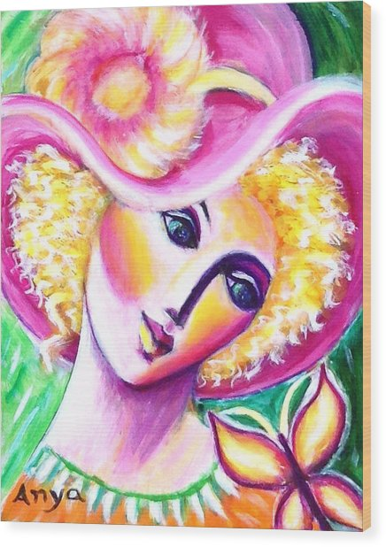 Lady And Butterfly Wood Print