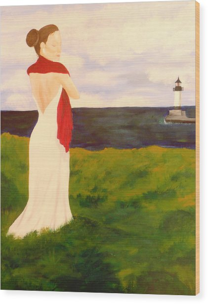 Lady At The Ocean Wood Print by Jennifer Hernandez