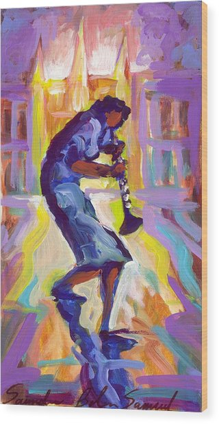 Lady Blue Plays Clarenet At The Saint Louis Cathedral Wood Print by Saundra Bolen Samuel