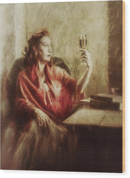 Lady By The Window Wood Print