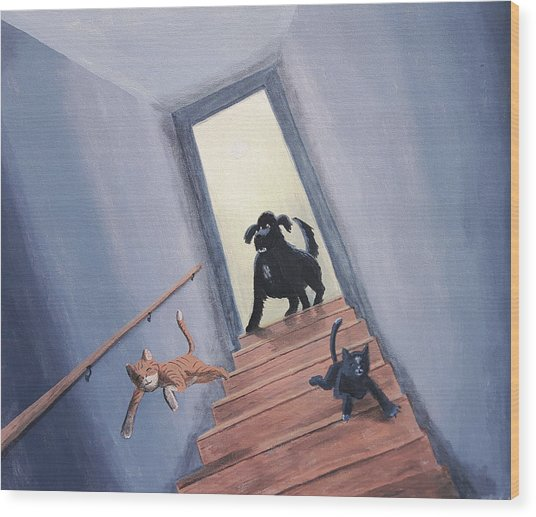 Lady Chases The Cats Down The Stairs Wood Print