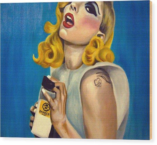 Lady Gaga Commission Wood Print by Emily Jones