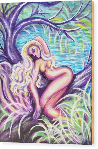 Lady In A Tree Wood Print