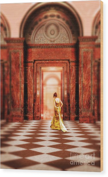 Lady In Golden Gown Walking Through Doorway Wood Print