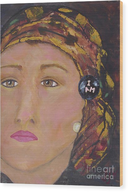 Lady In Head Scarf  Wood Print