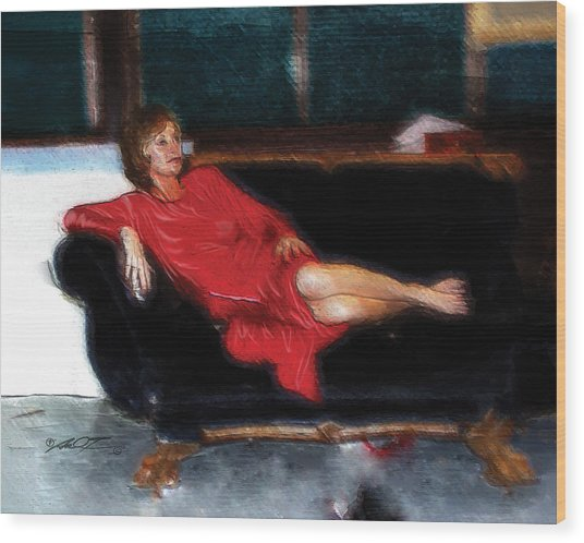 Lady In Red Wood Print