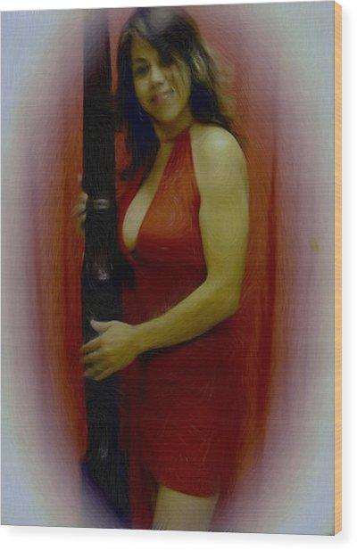 Lady In Red Wood Print by Maribel McIntosh