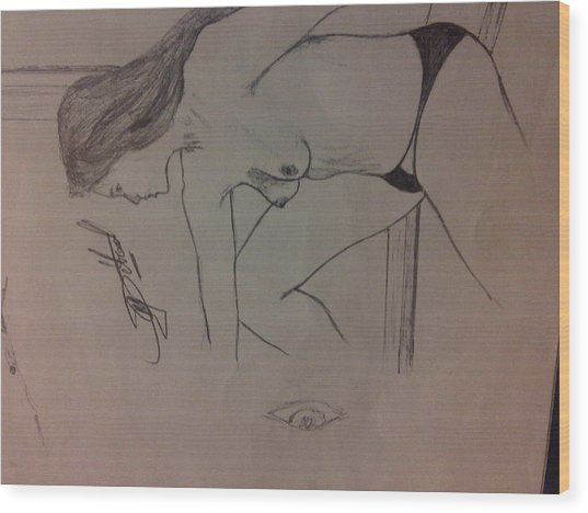 Lady In Thoughts Wood Print by Mmushi Given Ditodi