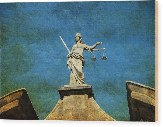 Lady Justice. Streets Of Dublin. Painting Collection Wood Print