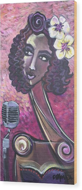 Wood Print featuring the painting Lady Lauren Midnight Singer by Laurie Maves ART
