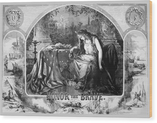 Lady Liberty Mourns During The Civil War Wood Print