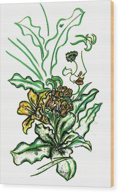 Lady Of The Garden Wood Print by Judith Herbert