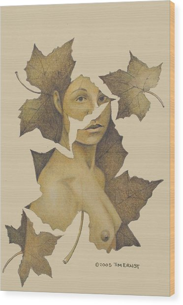 Lady Of The Leaf 3 Wood Print