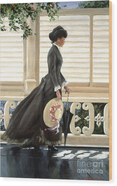 Lady On A Porch Wood Print by Michael Swanson
