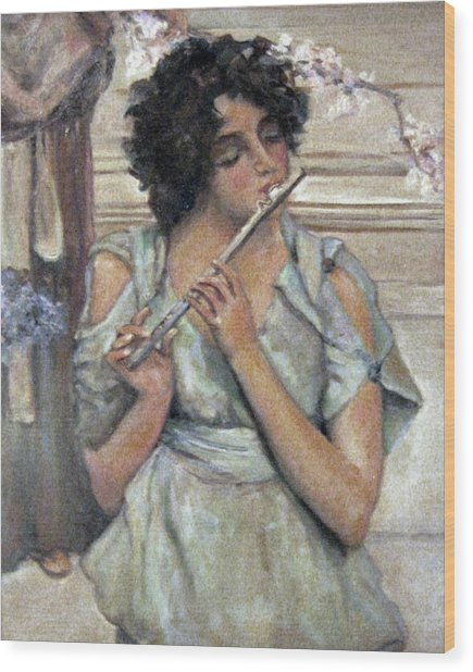 Lady Playing Flute Wood Print