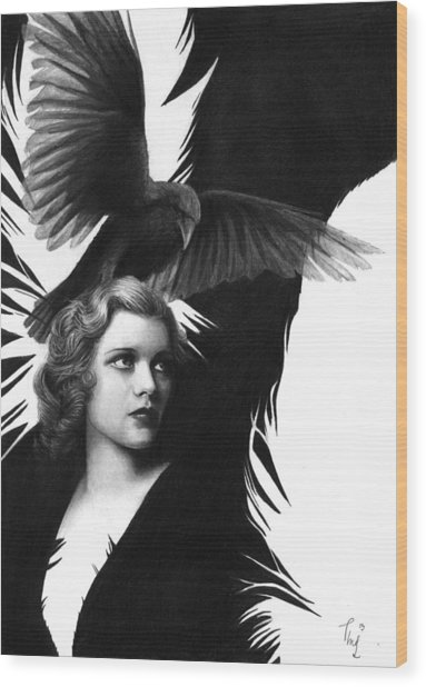 Lady Raven Surreal Pencil Drawing Wood Print