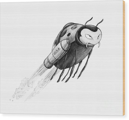 Lady Rocket Bug Wood Print