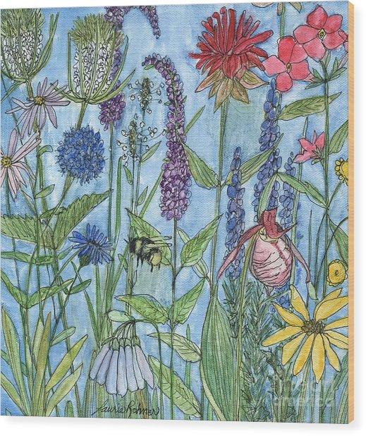 Lady Slipper In My Garden  Wood Print