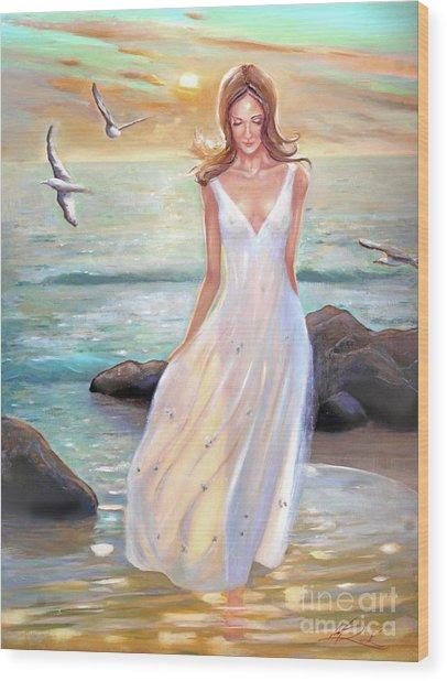 Lady Walking On The Beach Wood Print