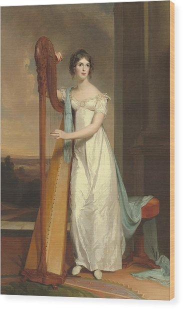 Lady With A Harp Wood Print