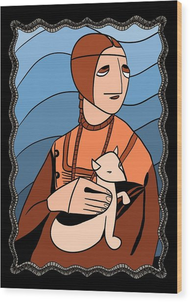 Lady With An Ermine By Piotr Wood Print