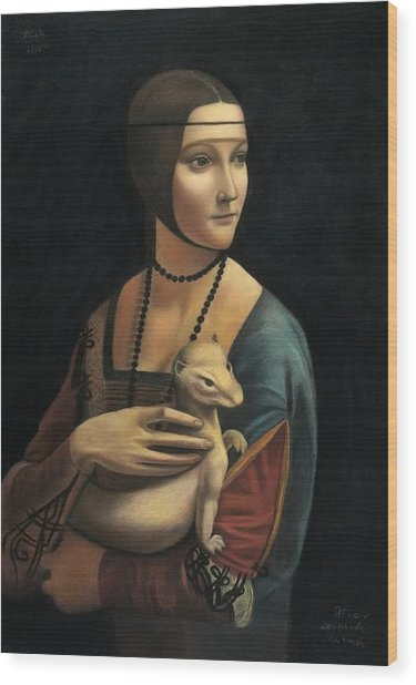 Lady With Ermine - Pastel Wood Print